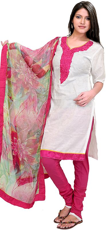 Winter-White and Pink Chudidar Kameez Suit with Thread Embroidered Patch on Neck and Printed Dupatta