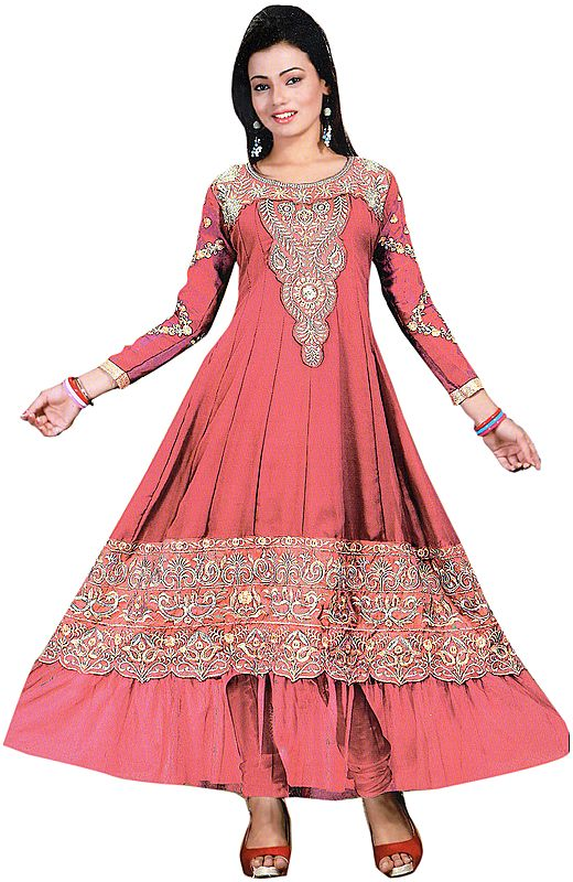 Anarkali Flared Kameez Suit with Metallic-Thread Embroidery