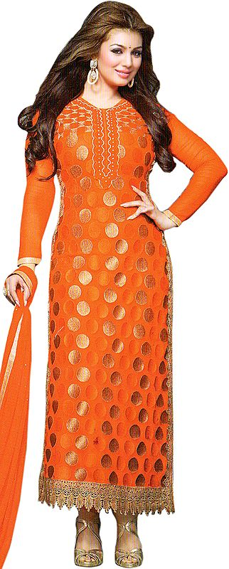 Ayesha Long Kameez Chudidar Suit with Embroidered Bootis and Crochet Border
