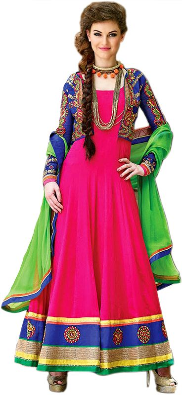 Bright-Pink and Blue Wedding Anarkali Suit with Embroidered Bolero Jacket and Wide Patch Border
