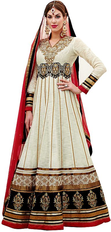 Snow-White Wedding Long Anarkali Suit with Elegant Embroidery and Stone Work