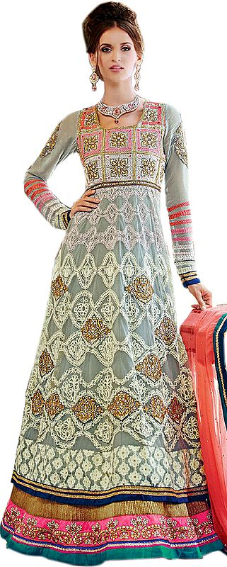 Gray and Pink Double-Layered Embroidered Anarkali Suit with Zari Patches and Stone-work