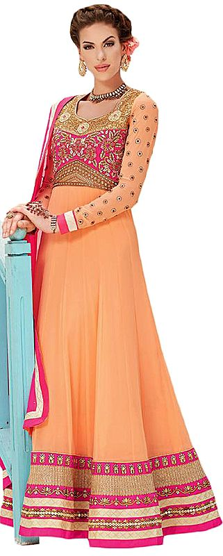 Peach and Pink Wedding Long Anarkali Suit with Floral Zari Embroidery and Stones