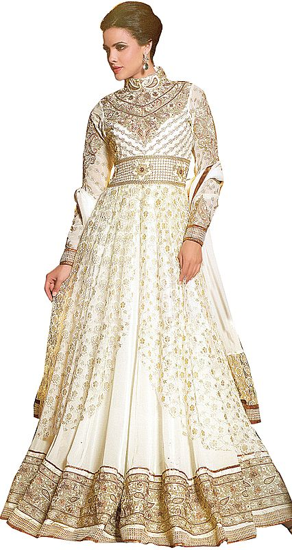 Ivory Wedding Long Anarkali Suit with Floral Embroidery in Metallic Thread and Beadwork