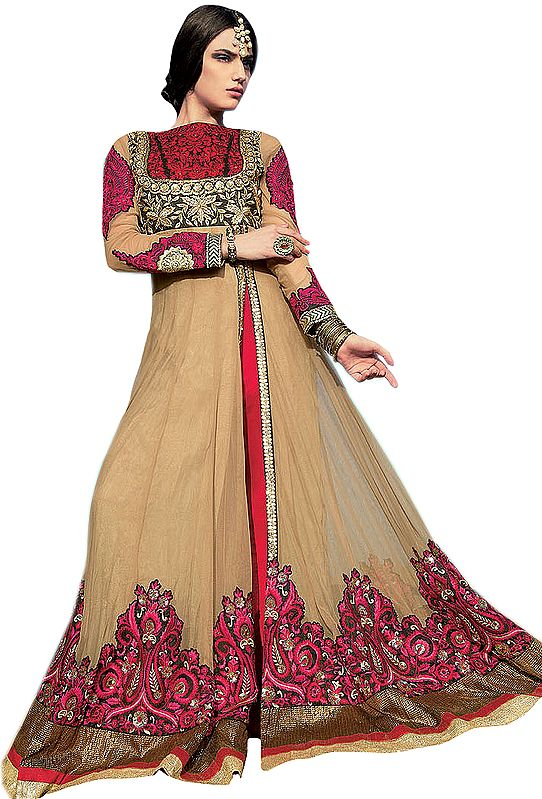 Champagne-Beige and Red Designer Embroidered Long Anarkali Suit with Paisleys Patch Border and Sequins-Work