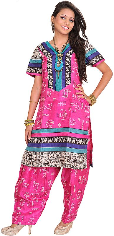 Raspberry-Rose Two-Piece Salwar Kameez Suit from Bhagalpur with Printed Warli Motifs