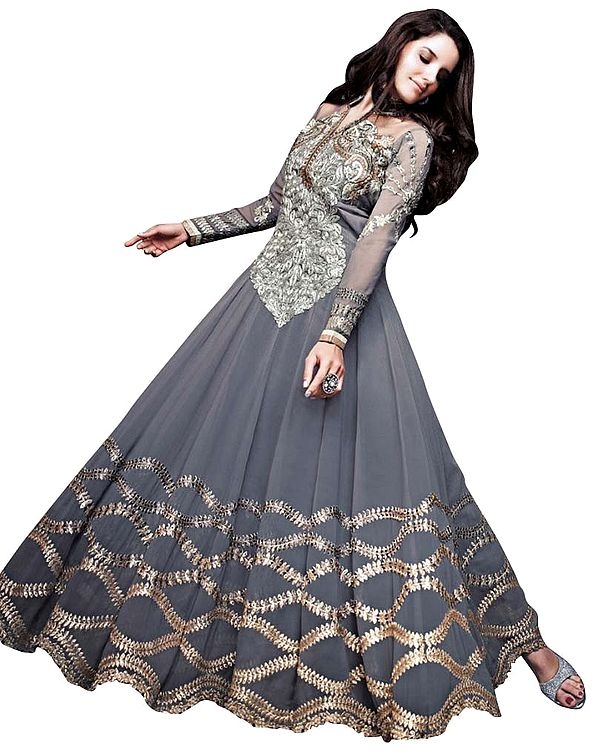 Gray Designer Anarkali Suit with Zari-Embroidered Floral Patch and Crystals