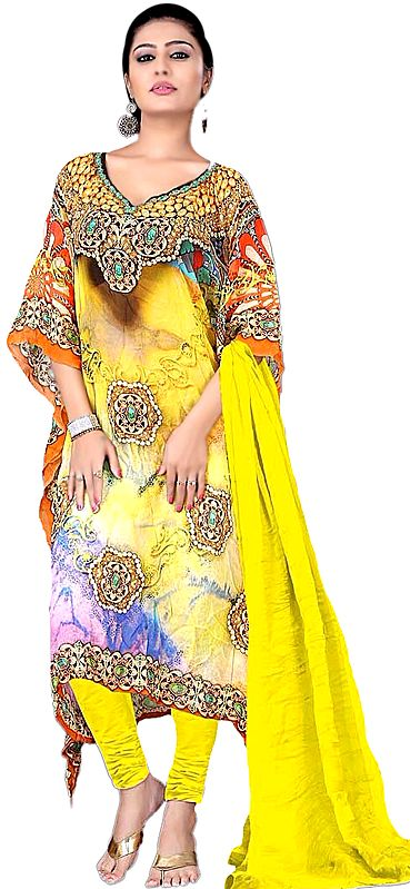 Primrose-Yellow Choodidaar Kaftan Suit with Digital-Print and Stone-work on Neck