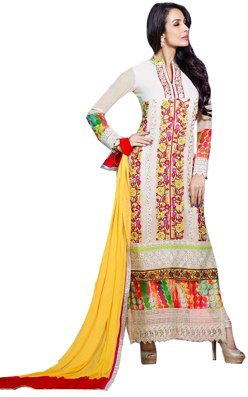 Ivory Malaika Long Chudidar Kameez Suit with Floral-Embroidery in Multicolor Thread and Crystals