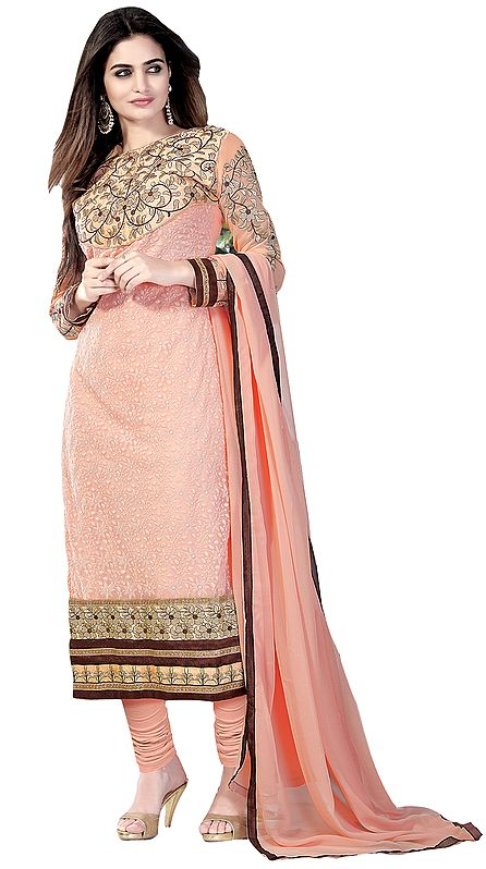 Tropical-Peach Self Embroidered Long Choodidaar Kameez Suit with Zari-Embroidered Patches