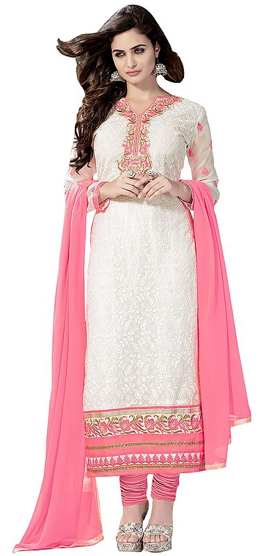 White and Pink Long Choodidaar Kameez Suit with Self-Embroidered Paisleys and Floral Patch Border
