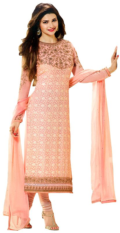 Tropical-Peach Self Embroidered Choodidaar Kameez Suit with Floral Embroidery on Neck