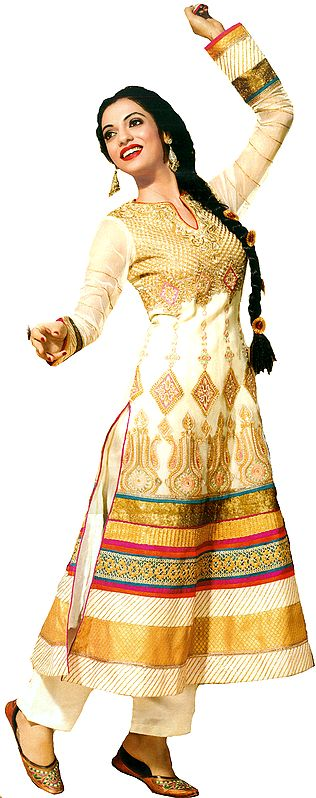 Ivory Wedding Parallel Salwar Suit with Zari-Embroidery
