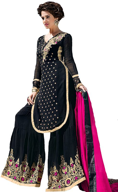 Jet-Black and Pink Designer Sharara Salwar Suit with Floral Embroidery and Bootis