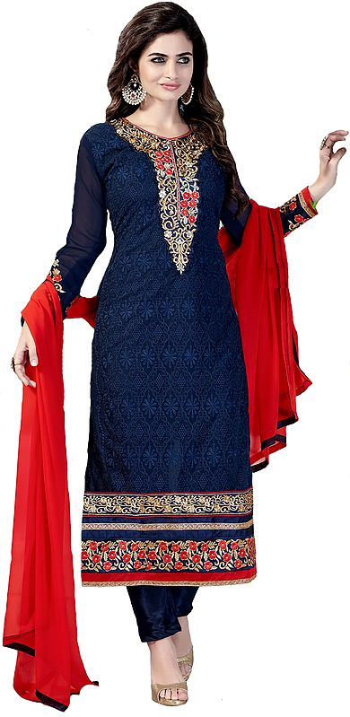 Estate-Blue Self Embroidered Long Choodidaar Kameez Suit with Zari Patch on Neck and Border