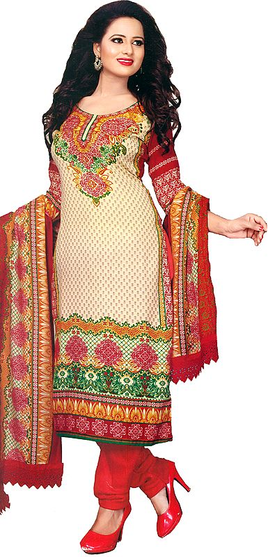 Pearled-Ivory and Red Choodidaar Kameez Suit with Printed Bootis