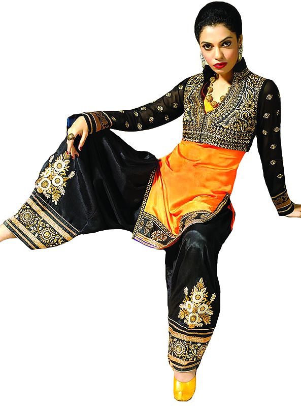 Orange and Black Zari-Embroidered Salwar Kameez Suit with Stone-work and Bolero Jacket