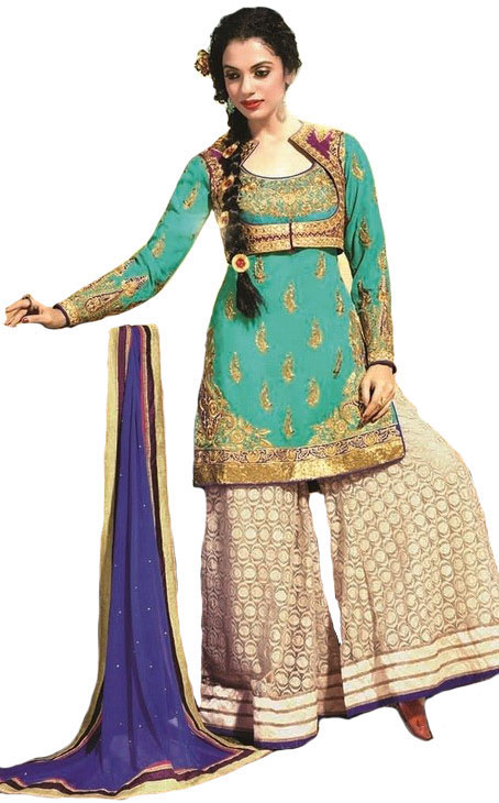 Green and Oyster-White Designer Sharara Kameez Suit with Zari-Embroidery and Bolero Jacket