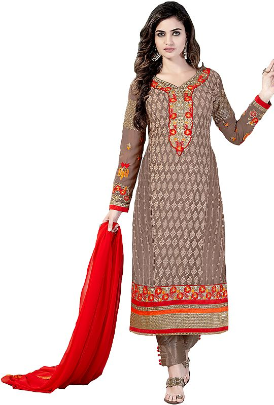Warm-Taupe Self Embroidered Long Trouser Salwar Kameez Suit with Floral Patch on Neck and Border