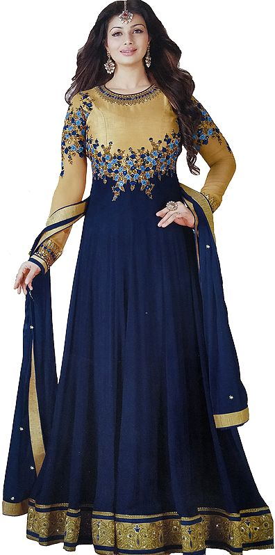 Golden and Blue Ayesha Designer Anarkali Suit with Floral-Embroidery and Crystals