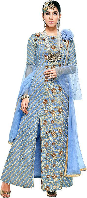 Dusk-Blue Zari-Embroidered Designer Salwar Kameez Suit with Embellished Pearls and Crsytals All-over
