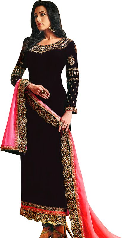 Deep-Purple Long Choodidaar Salwar Kameez Suit with Zari-Embroidery and Pink Chiffon Dupatta