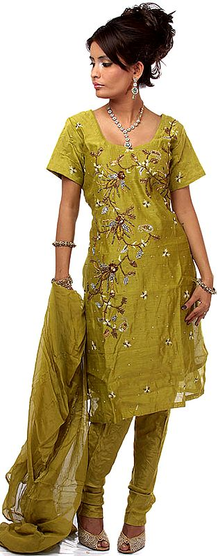 Moss-Green Chanderi Suit with Floral Embroidery and Sequins