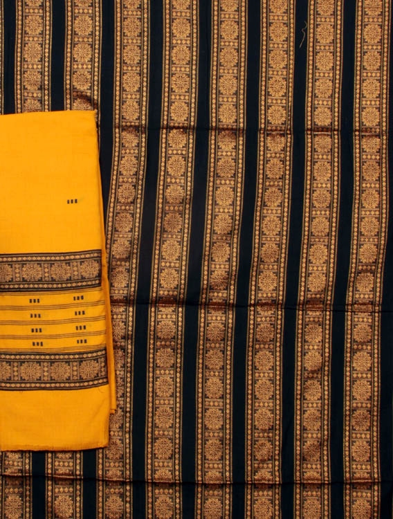 Black and Amber Bomkai Salwar Suit Fabric from Orissa with Chakras Woven by Hand