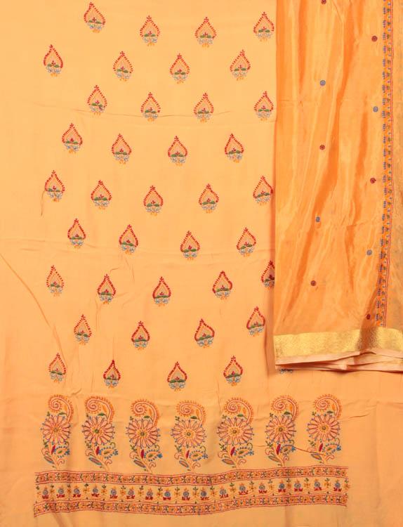 Pumpkin Orange Salwar Kameez Fabric with Lukhnavi Chikan Embroidery by Hand