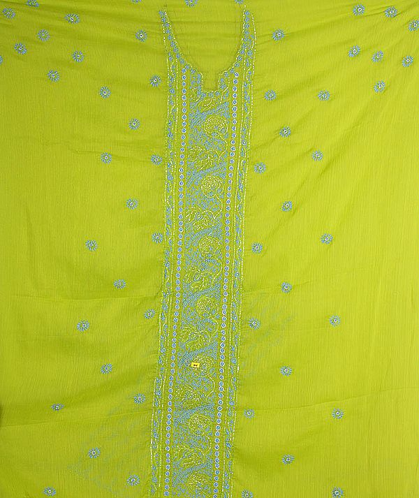 Lime Green Chikan Embroidered Salwar Kameez Fabric from Lucknow with Beadwork