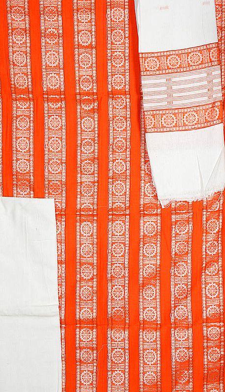 Orange Bomkai Salwar Suit Fabric from Orissa with Konark Wheel Woven by Hand