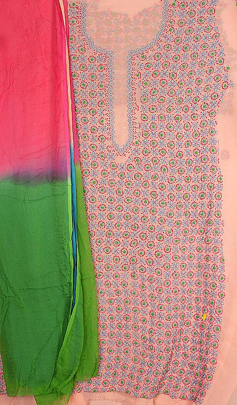 Coral Salwar Kameez Fabric from Lucknow with Chikan Embroidery by Hand