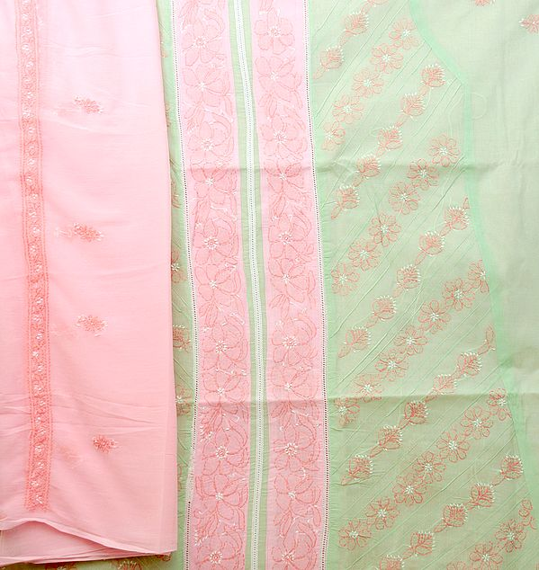 Pink and Green Salwar Kameez Fabric with Lukhnavi Chikan Embroidery