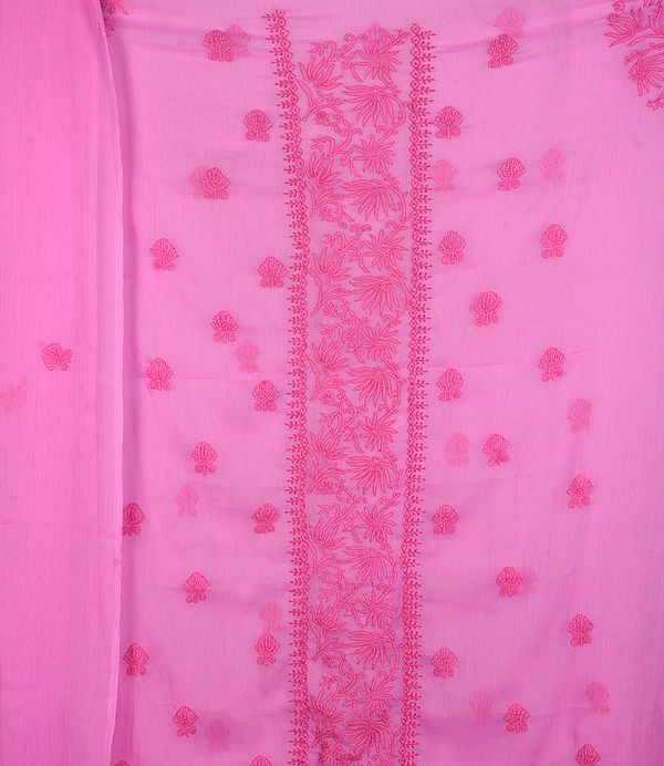 Orchid Salwar Kameez Fabric from Lucknow with Chikan Embroidery by Hand