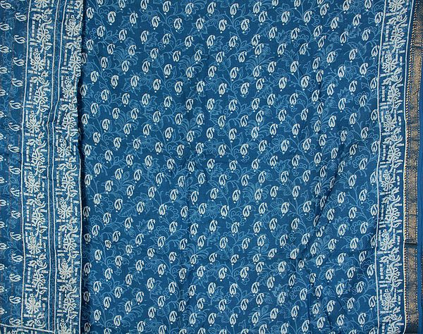 Blue Chanderi Salwar Suit with All-Over Printed Paisleys