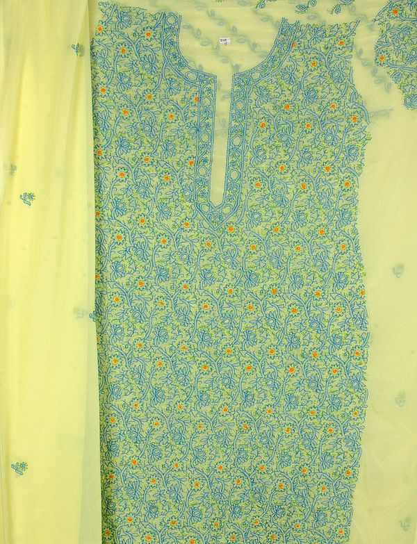 Yellow Salwar Kameez Fabric from Lucknow with all Over Chikan Embroidery