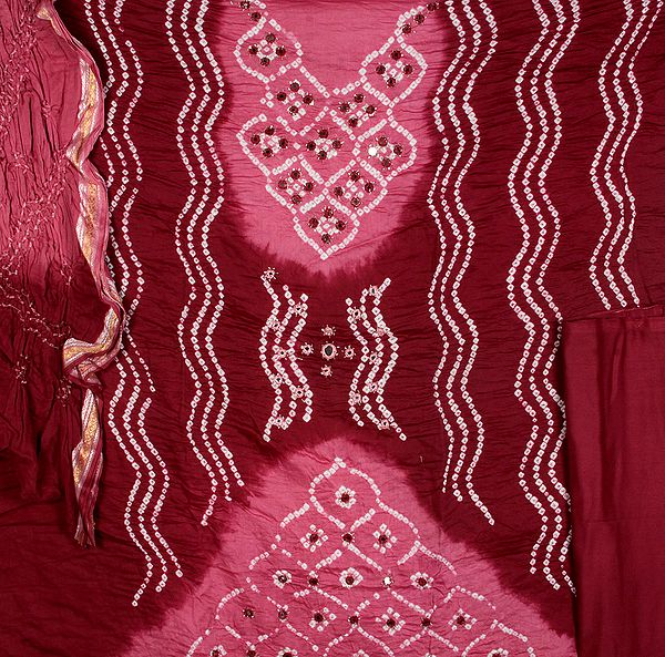 Plum Shaded Bandhani Tie-Dye Suit from Gujarat