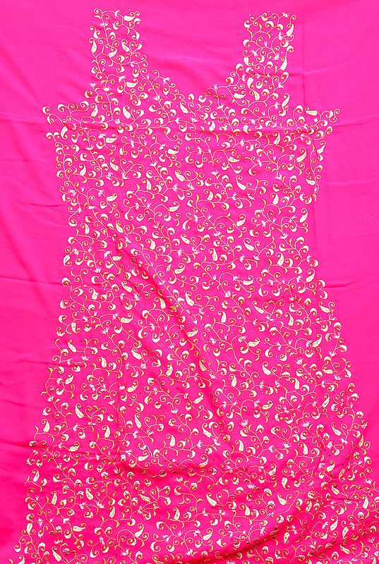 Hot-Pink Salwar Kameez Fabric with Crewel Jaal-Embroidery