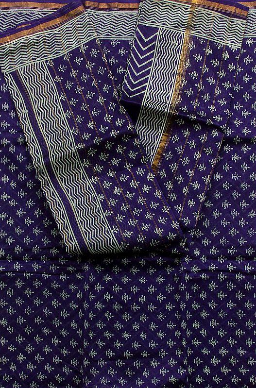 Ultramarine Blue Chanderi Salwar Suit with All-Over Printed Bootis