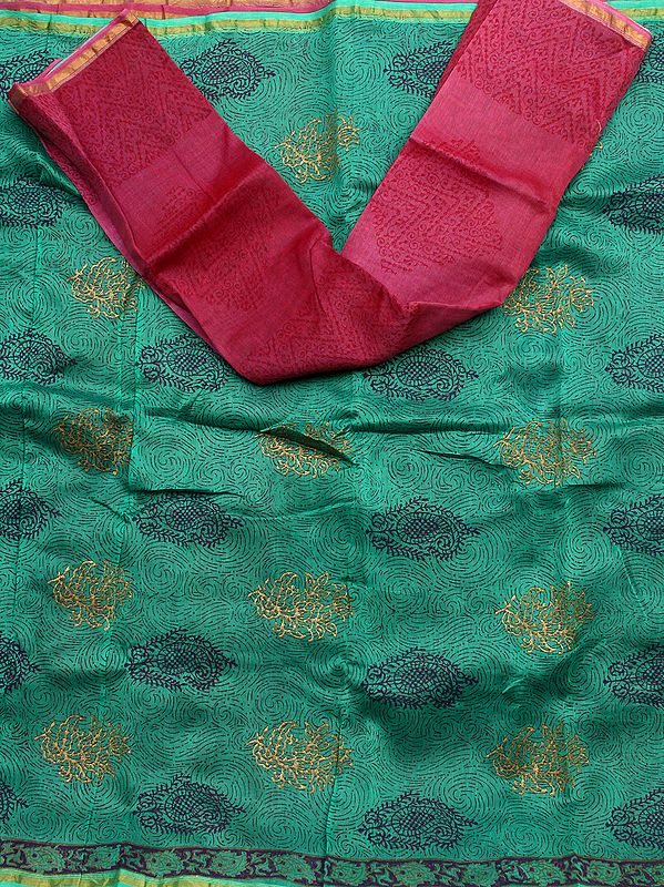 Islamic-Green Chanderi Salwar Suit with Block Print and Painted Bootis