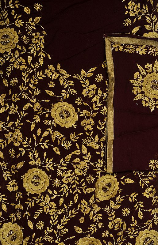 Cordovan Phulkari Salwar Kameez Fabric with Sequins and Hand-Embroidered Flowers