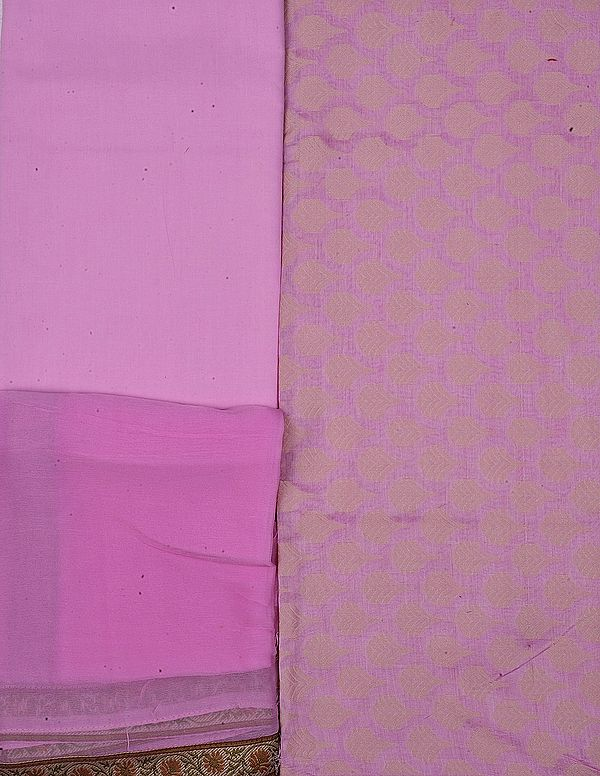 Prism-Pink Salwar Kameez Fabric with Woven Bootis in Self and Floral Patch Border