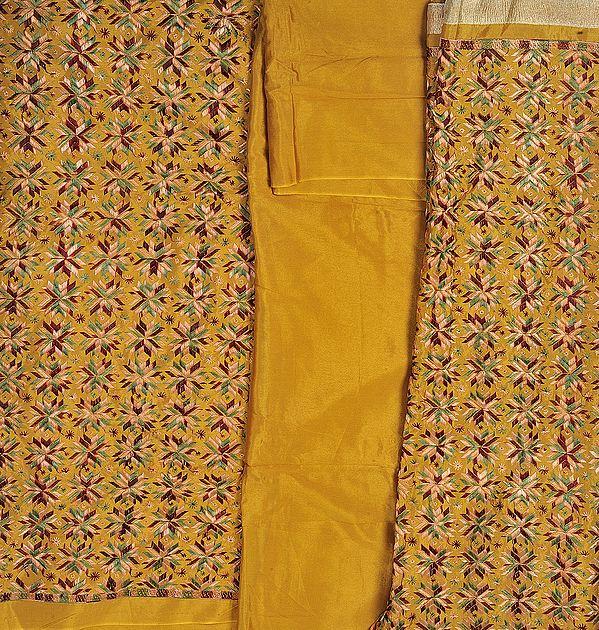 Phulkari Salwar Kameez Fabric From Punjab with Ari Embroidery All-Over