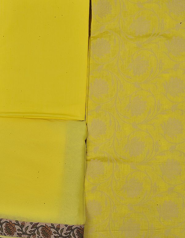 Blazing-Yellow Salwar Kameez Fabric with Woven Flowers in Self and Patch Border