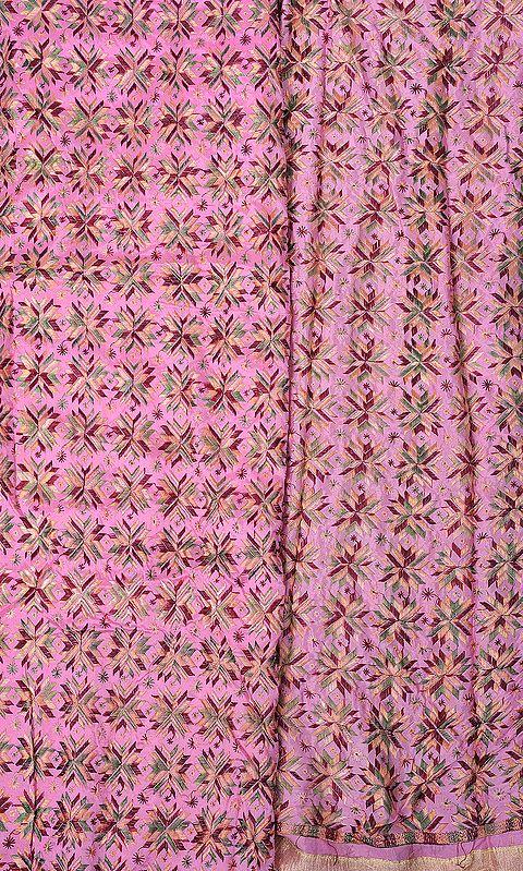 Phulkari Salwar Kameez Fabric From Punjab with Ari Embroidery