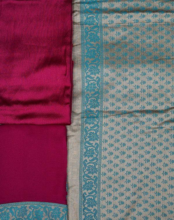 Iceberg-Green and Purple Banarasi Salwar Kameez Fabric with All-Over Woven Flowers