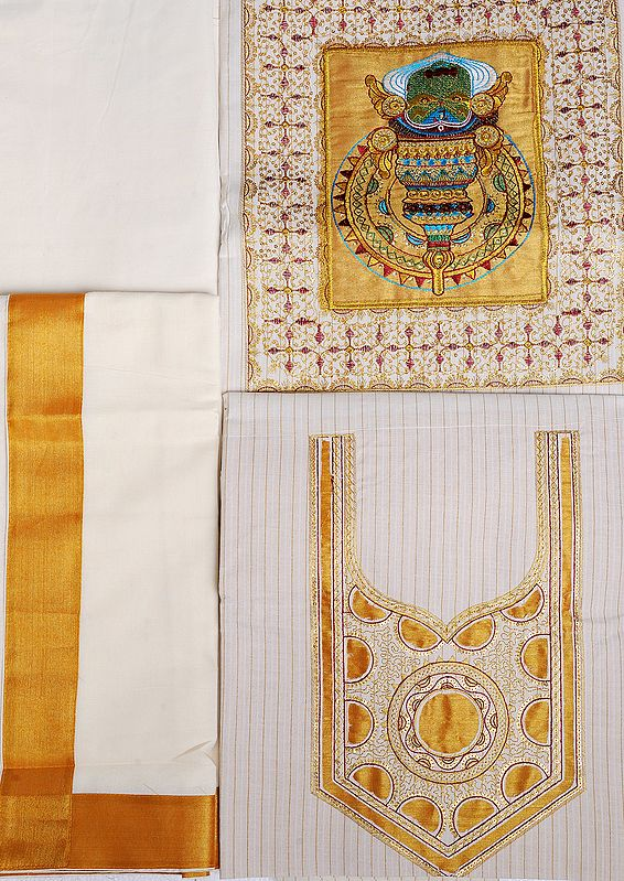 Ivory Salwar Kameez Fabric from Kerala with Embroidered Kathakali Mask