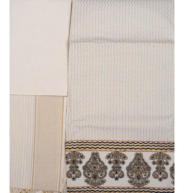 Ivory Kasavu Salwar Kameez Fabric with Metallic Thread Embroidery