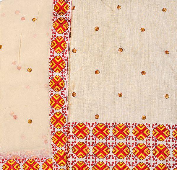 Beige Phulkari Salwar Kameez from Punjab Fabric with Crewel Embroidery