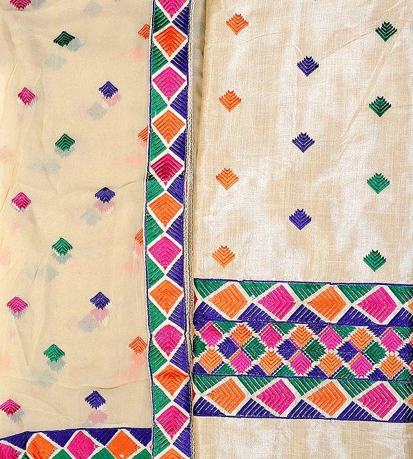 Salwar Kameez Fabric with Phulkari Embroidery from Punjab